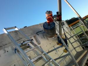 2021-Startseite Baustellenbilder, Schräg schräg Bohrung in eine Biogasanlage (Einsatz eines neues Rührwerkes)